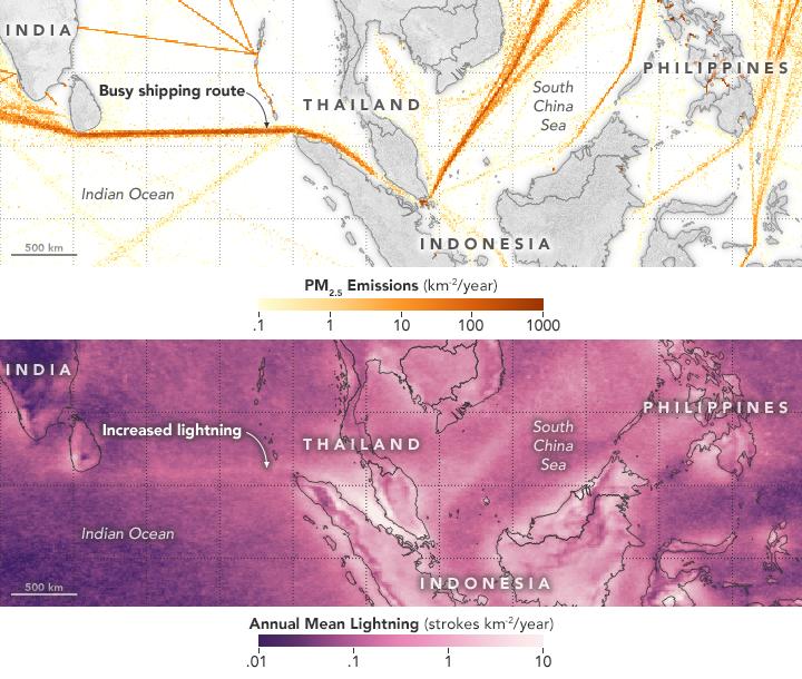 Lighting Strike over shipping lanes